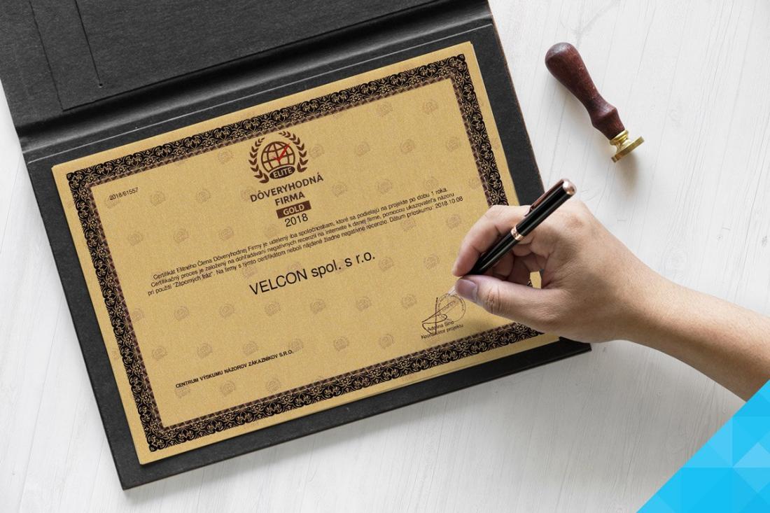 Zlatý certifikát dôveryhodnej spoločnosti - 2018