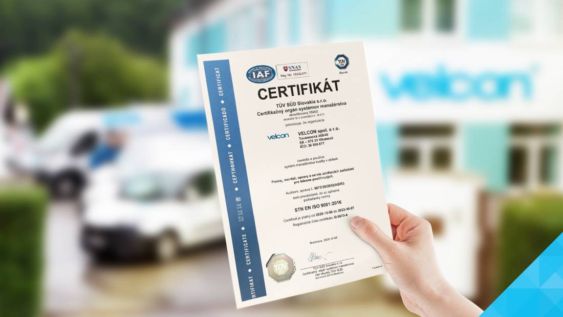 ISO certifikát Velcon